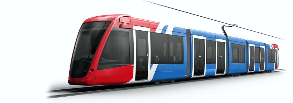 Modern commuter tram