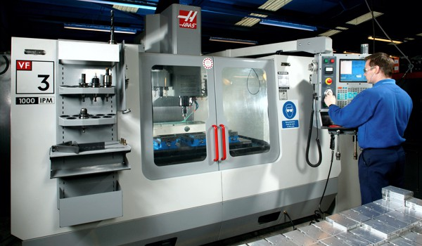 HAAS VF-3 operating in a factory